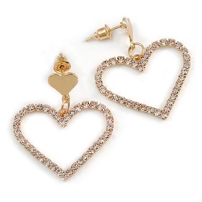 Romantic Delicated Crystal Open Heart Drop Earrings In Gold Tone - 35mm Tall
