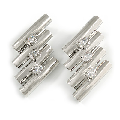 Unique Silver Tone Clear Crystal Tunnel Stud Earrings - 45mm Long