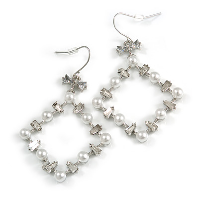 Square White Faux Pearl Bead, Clear CZ Bow Drop Earrings In Silver Tone Metal - 60mm Long