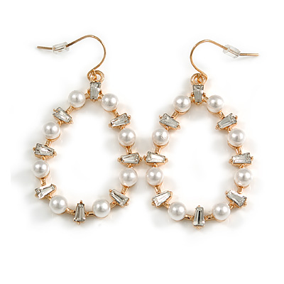 Oval White Glass Pearl Bead, Clear CZ Hoop Drop Earrings In Gold Tone Metal - 55mm Long