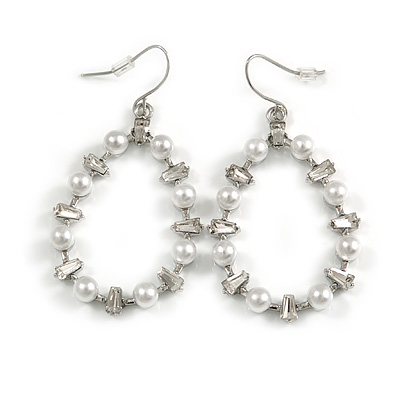Oval White Glass Pearl Bead, Clear CZ Hoop Drop Earrings In Silver Tone Metal - 55mm Long