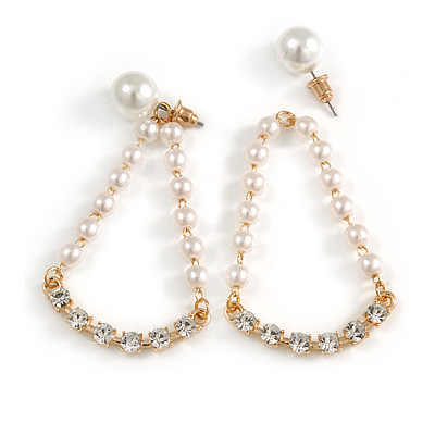 White Faux Pearl Clear Crystal Transformer Drop/ Stud Earrings In Gold Tone - 50mm Long/ 9mm Stud Bead