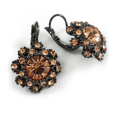 Delicate Light Topaz Flower Drop Earrings In Gun Metal Finish with Leverback Clasp - 25mm Long