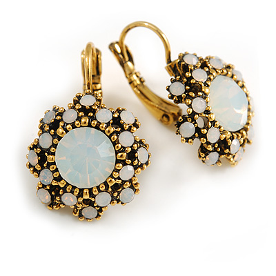 Delicate Milky White Flower Drop Earrings In Gold Tone Metal with Leverback Clasp - 25mm Long