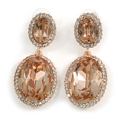 Champagne Oval Glass, Clear Crystal Drop Earrings In Rose Gold Tone - 50mm Long