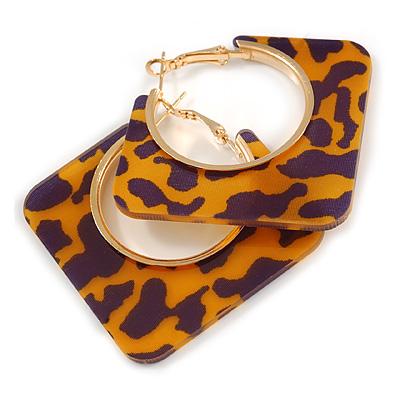 Trendy Orange/ Purple Animal Print Square Acrylic Hoop Earrings In Gold Tone - 45mm Tall - Medium