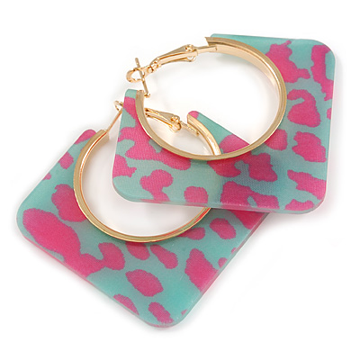 Trendy Green/ Magenta Animal Print Square Acrylic Hoop Earrings In Gold Tone - 45mm Tall - Medium