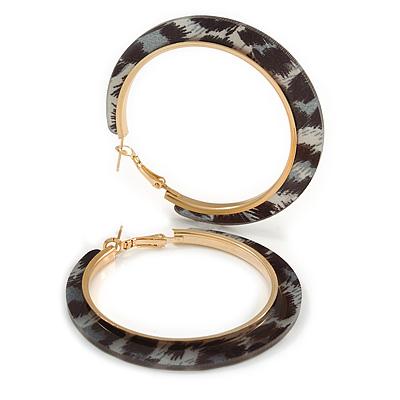 Trendy Black/ Grey Animal Print Acrylic Hoop Earrings In Gold Tone - 60mm Diameter - Large
