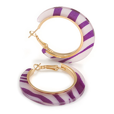 Trendy Lavender/ Purple Animal Print Acrylic Hoop Earrings In Gold Tone - 43mm Diameter - Medium