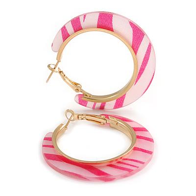 Trendy Light Pink/ Fuchsia Animal Print Acrylic Hoop Earrings In Gold Tone - 43mm Diameter - Medium