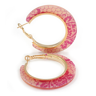 Trendy Peach/ Magenta Floral Print Acrylic Hoop Earrings In Gold Tone - 43mm Diameter - Medium