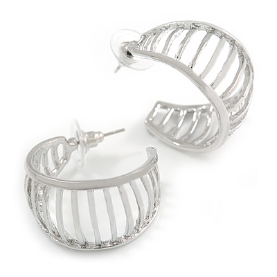 Small Silver Tone with Bar Element Half Hoop/ Creole Earrings - 25mm Diameter
