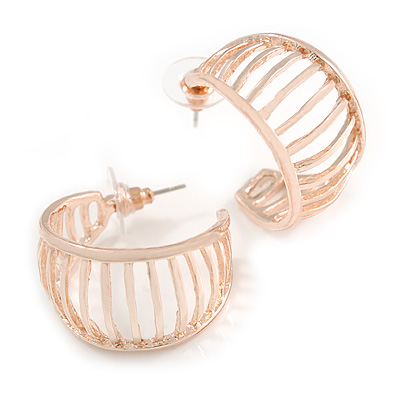 Small Rose Gold Tone with Bar Element Half Hoop/ Creole Earrings - 25mm Diameter