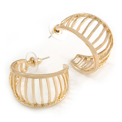 Small Gold Tone with Bar Element Half Hoop/ Creole Earrings - 25mm Diameter