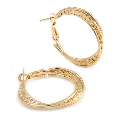 30mm Medium Textured Twisted Hoop Earrings In Gold Tone