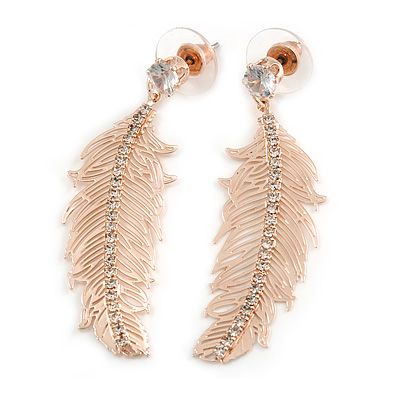Rose Gold Tone Clear Crystal Delicate Feather Drop Earrings - 50mm Long