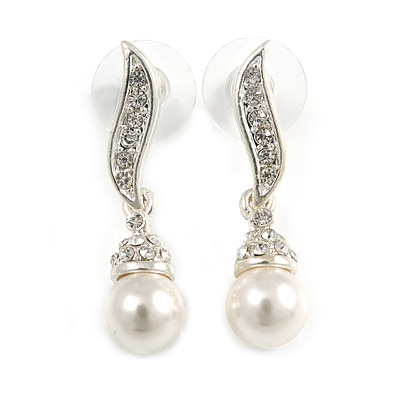 Prom Diamante Simulated Pearl Drop Earrings In Silver Tone - 35mm Long