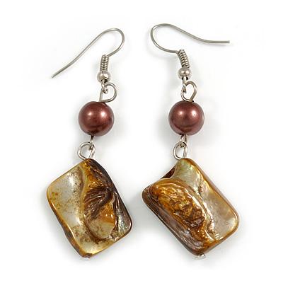 Khaki Brown Shell Bead Drop Earrings In Silver Tone - 60mm Long