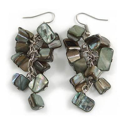 Dark Grey/ Black Shell Composite Cluster Dangle Earrings in Silver Tone - 70mm L
