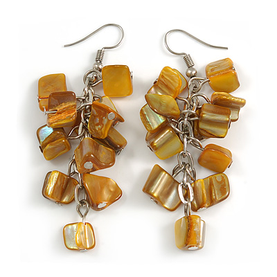 Mustard Yellow Shell Composite Cluster Dangle Earrings in Silver Tone - 70mm L