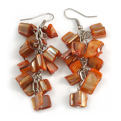 Burnt Orange Shell Composite Cluster Dangle Earrings in Silver Tone - 70mm L