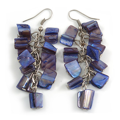 Blue Purple Shell Composite Cluster Dangle Earrings in Silver Tone - 70mm L