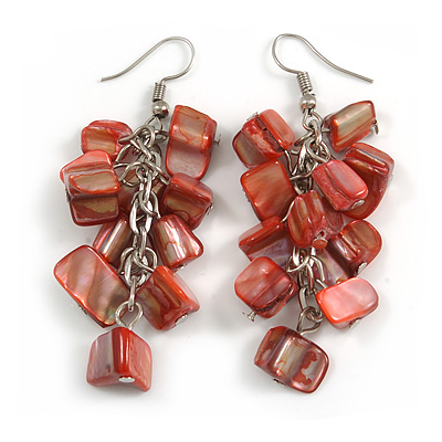 Red Shell Composite Cluster Dangle Earrings in Silver Tone - 70mm Long