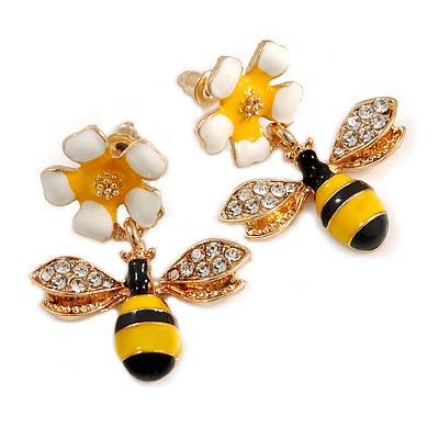 Cute Crystal Enamel Flower and Bee Drop Earrings In Gold Tone - 30mm Long