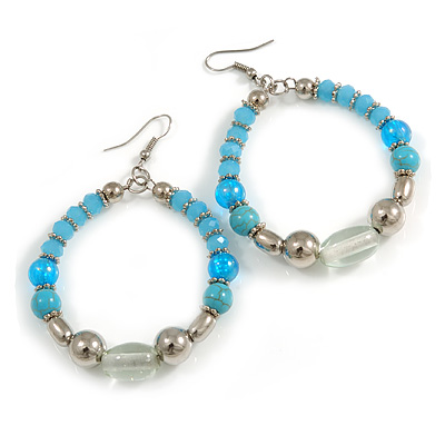Light Blue/ Turquoise/ Transparent Ceramic/ Glass Bead Hoop Earrings In Silver Tone - 80mm Long