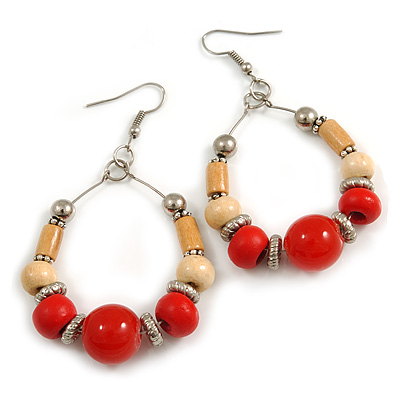 Red Ceramic/ Natural Wood Bead Hoop Earrings In Silver Tone - 70mm Long