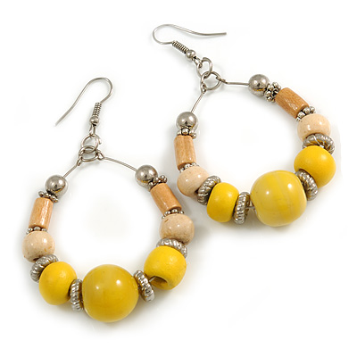Lemon Yellow Ceramic/ Natural Wood Bead Hoop Earrings In Silver Tone - 70mm Long