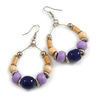 Dark Blue Ceramic/ Natural/ Lavender Wood Bead Hoop Earrings In Silver Tone - 70mm Long