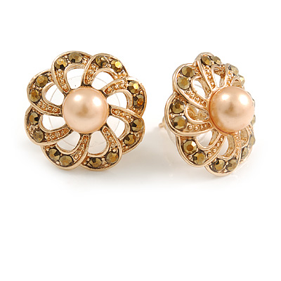 Bronze Crystal Cream Faux Pearl Flower Stud Earrings In Gold Tone - 18mm D