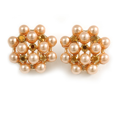 Peach Cream Faux Pearl Bronze Crystal Round Stud Earrings In Gold Tone - 22mm Diameter