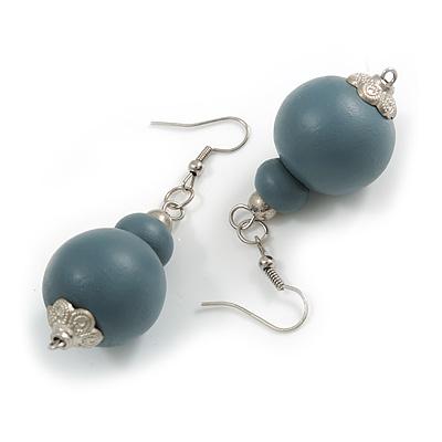 Grey Double Bead Wood Drop Earrings In Silver Tone - 60mm Long