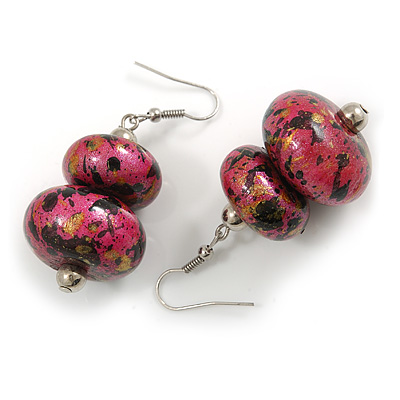 Fuchsia Pink/ Black/ Gold Double Bead Wood Drop Earrings In Silver Tone - 55mm Long