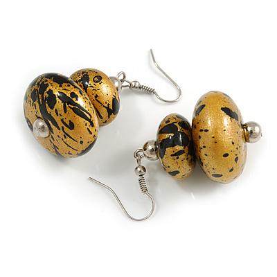 Glitter Gold/ Black Double Bead Wood Drop Earrings In Silver Tone - 55mm Long - main view