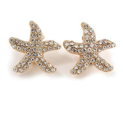 Clear Crystal Starfish Clip On Earrings In Gold Tone Metal - 25mm Diameter