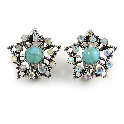 Vintage Inspired AB Crystal Turquoise Stone Floral Clip On Earring in Aged Silver Tone - 23mm D