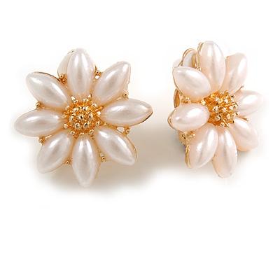 Romantic Faux Pearl Daisy Clip On Earrings In Gold Tone - 25mm Diameter
