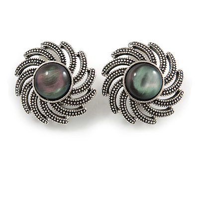 Vintage Inspired Cat Eye Stone Flower Clip On Earrings In Antique Silver Tone - 23mm D D