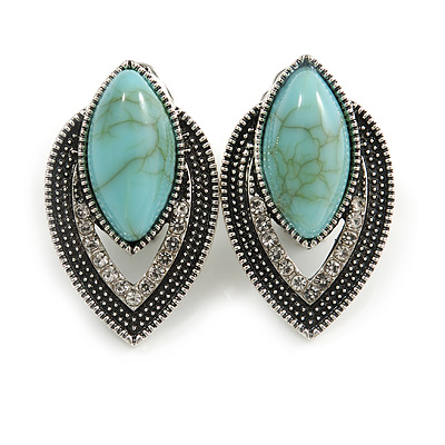 Vintage Inspired Teardrop Crystal Turquoise Bead Clip On Earrings In Aged Silver Tone - 30mm Tall