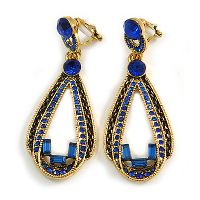Vintage Inspired Long Sapphire Blue Crystal Loop Clip On Earrings In Antique Gold Tone - 60mm L