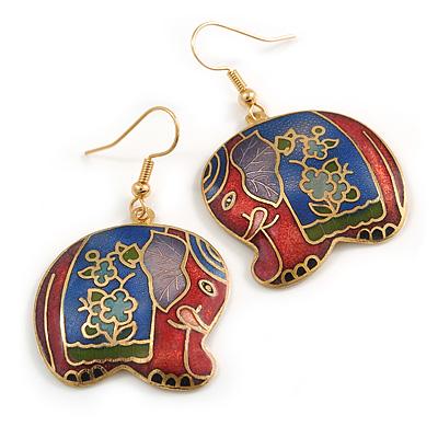 Multicoloured Enamel Elephant Drop Earrings In Gold Tone Metal - 45mm Long