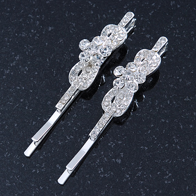 Pair Of Clear Crystal 'Daisy' Hair Slides In Rhodium Plating - 55mm Length