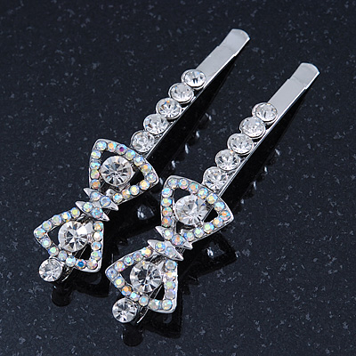 Pair Of Clear/ AB Swarovski Crystal 'Bow' Hair Slides In Rhodium Plating - 60mm Length
