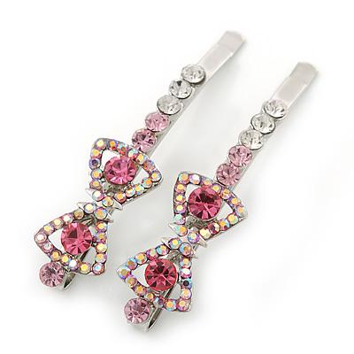 Pair Of Clear/Pink/ AB Swarovski Crystal 'Bow' Hair Slides In Rhodium Plating - 60mm Length