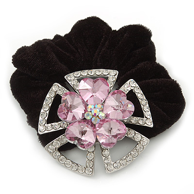 Large Layered Rhodium Plated Swarovski Crystal 'Flower' Pony Tail Black Hair Scrunchie - Light Pink/ Clear/ AB - main view