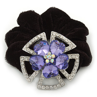 Large Layered Rhodium Plated Swarovski Crystal 'Flower' Pony Tail Black Hair Scrunchie - Amethyst/ Clear/ AB