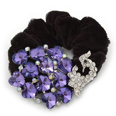 Large Rhodium Plated Crystal Peacock Pony Tail Black Hair Scrunchie - Purple/ Clear